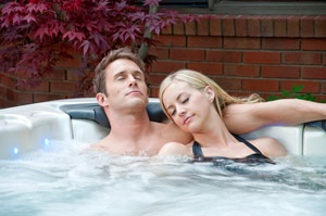 relaxing in a hot tub