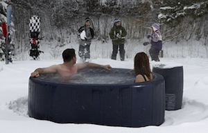 winter outdoor hot tub